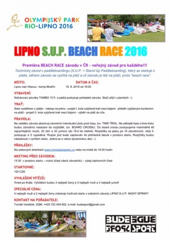 Lipno S.U.P. Beach Race 2016