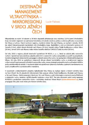 Destinační management Vltavotýnska - mikroregionu v srdci jižních Čech